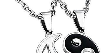 MOWOM MOWOM Black White 2 PCS Stainless Steel Enamel Pendant