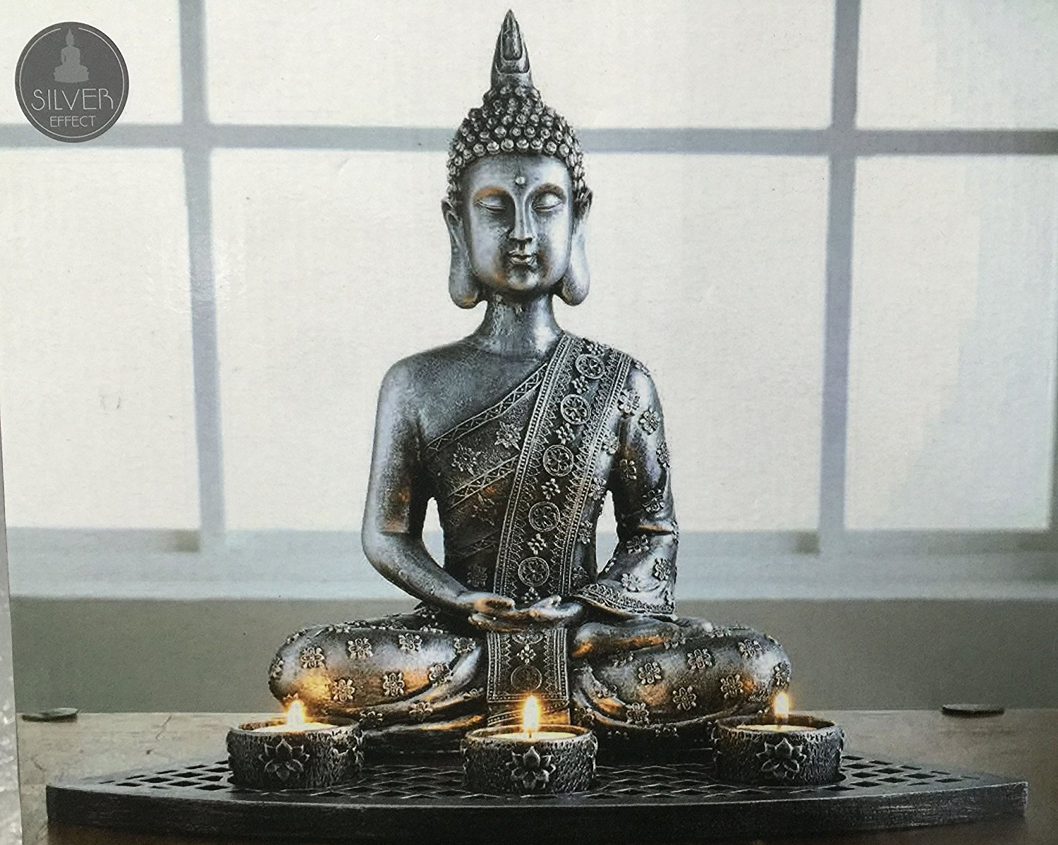 Pewter Buddha Statue Candle Set Gemchantress